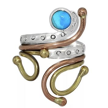 Turquoise Three Tone Sterling Silver Adjustable Ring