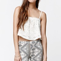 O'Neill Holly Crochet Lace Cropped Tank Top - Womens Tees - White