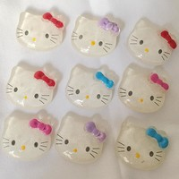 12pcs Resin  hello kitty with  bow flat back Cabochon Art Decoration Charm Craft DIY accessories 25*20mm