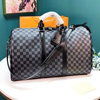 Louis Vuitton LV High Quality Women Men Leather Black Tartan Luggage Travel Bags Tote Handbag