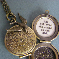 She believed she could so she did Bird Floral Brass locket graduation inspiration graduate gift accomplishment