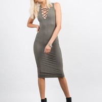 Ribbed Lace Up Dress