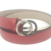 """Authentic Gucci ($390) GG Buckle Red Leather Belt 34""""-38"""" ( 95-38) #295704, NWT"""