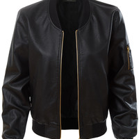 LE3NO Womens Lightweight Faux Leather Varsity Bomber Jacket