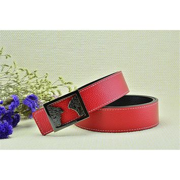 Authentic Versace Litchi Stria Belt Medusa Head Red Leather Black Buckle Belt