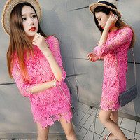 Pink Sheer Sleeve Floral Lace Mini Dress