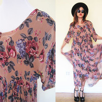 Vintage pleated button down rose floral flower wrinkle hippie boho bohemian festival pink peach old rose maxi ruffle hem