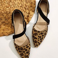 Point Toe Leopard Suede Flats