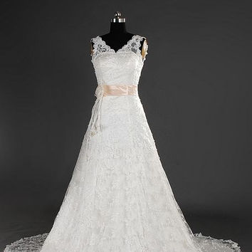 A-line V-neck Sleeveless Cathedral Train Satin Lace Wedding Dress With Sashes Beading Free Shipping