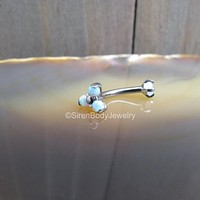 Rook piercing barbell 16g vertical labret eyebrow piercings rings curved bar white opal cluster titanium prong set gems daith earring stud