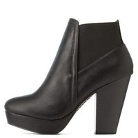Black Bamboo Gored Chunky Heel Booties by Bamboo at Charlotte Russe
