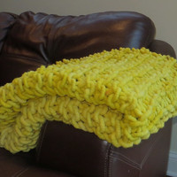 54x37 Super Chunky Hand Knit Lap Blanket Throw Custom Colors