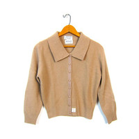 Cropped 1950s Cocoa Brown Wool Knit Sweater Simple Lambswool Button Up Cropped Cardigan Angora Shirt Minimal 50s Louannes Vintage XS Small