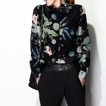 Leaf And Floral Print Collared Chiffon Shirt