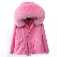 High Quality 2016 Autumn Winter Coats Women Parkas Pink Blue Thickening Large raccoon fur collar hooded Fur Jackets Female YM002