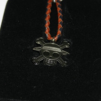 One Piece - Pirate Skull Leather Band Necklace