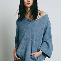 Free People Womens Rolled Sleeves Pocket Tunic
