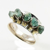 Aquamarine Rough Two Tone Sterling Silver High Polish Ring