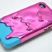 Z Gadget Electroplating: Melting 3D Ice-Cream (Purple Blue) Cover Case for iPhone 4 4S