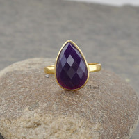 Silver Ring, Gemstone Ring, Amethyst Chalcedony Pear 10x14mm Shape Micron Gold Plated 925 Sterling Silver Ring Jewelry- #1152