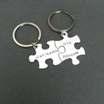 Her marine his princess keychains, couples keychains, puzzle piece keychain set , Anniversary Gift