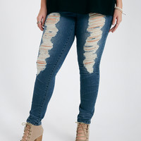 Plus Size Destroyed Skinny Jeans With Crease Detail | Wet Seal Plus