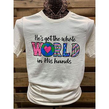 Southern Chics Apparel He's Got the Whole World in His Hands COVID-19 Canvas Bright T Shirt