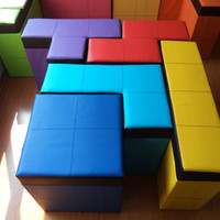 "Set of 5 pieces of tetris-shaped Storage Benches - 50cm high or 19.68"" high"