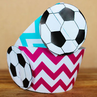 Printable 3D Soccer Cupcake Wrapper Set in aqua and pink chevron -  sports party wraps - DIY printable party supplies - INSTANT DOWNLOAD