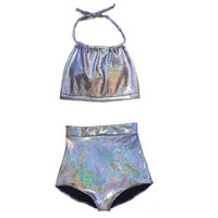 Black Holographic High Waist Bikini