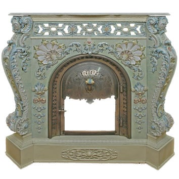 A Villeroy & Boch Ceramic Porcelain Fireplace with Marble Top