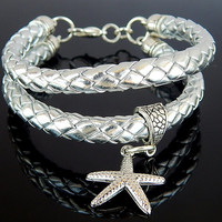 SIlver Toned Eco Leather Bracelet, Starfish Bracelet, Charm Bracelet - FREE SHIPPING