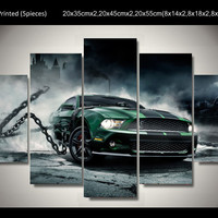 Framed Printed mustang shelby Car 5 piece picture painting wall art children's r