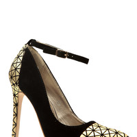 Black and Gold Faux Suede Pointed Toe Ankle Strap Heels