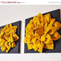 """MOTHERS DAY SALE Two Flower Wall Hangings -Mustard Dahlia on Charcoal 12 x12"""" Canvas Wall Art- 3D Felt Flower"""