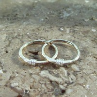 Tiny Hoop Earrings Gold with Sterling Silver Endless