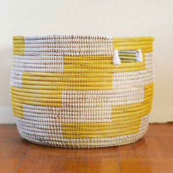 Laundry Hamper, Storage Bin Basket, Container, Home Decor, Yellow -Ready to Ship