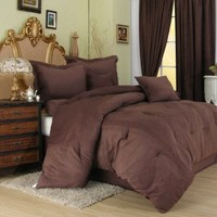 Chezmoi Collection 7 Piece Solid Microsuede Comforter bed-in-a-bag Set Queen Size Bed, 90 by 92-Inch, Mocha Brown