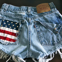 Levis high waist denim shorts super frayed with US flag and studs size Large/Extra large up to 38