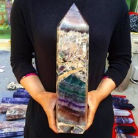 12.1LB XL Rainbow Fluorite Standing Tower Cathedral 13.7inches tall