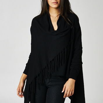 Love Stitch Carys Fringed Shawl Sweater with Button in Black IMP5797-BLACK