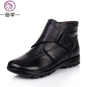 MUYANG Chinese Brands Winter Shoes Woman Genuine Leather Flat Snow Boots Casual Ankle Boots Women Warm mother shoes Women Boots