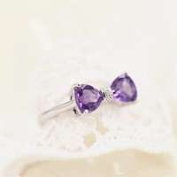Magic Pieces Sterling Silver Ring with Natural Brazilian Purple Amethyst and CZ Setting J1122