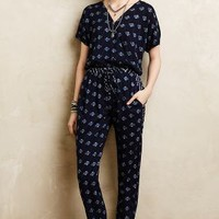 Rowena Cinched Jumpsuit by Velvet by Graham and Spencer Blue Motif