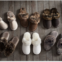 2017 New Winter Women Men Warm Indoor Shoes Slippers Leather Plush Cotton Slippers Lovely Couple Home Shoes Large Size ZK4