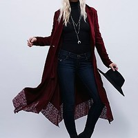 Free People Womens Drippy Lace-Up Cord Duster