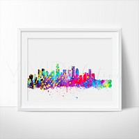 Los Angeles Skyline Watercolor Art Print