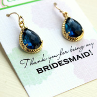 Sapphire Earrings Navy Blue Teardrop Gold - Bridesmaid Earrings - Bridesmaid Thank You Note Card - Sapphire Wedding Jewelry - Something Blue