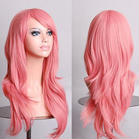 Womens/Ladies 70cm Light Pink Color Long CURLY Cosplay/Costume/Anime/Party/Bangs Full Sexy Wig (70cm,Curly,Light Pink)