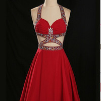 Halter Homecoming Dress Backless Style